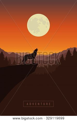 Wolf On A Cliff Howls At Full Moon Forest Nature Landscape Vector Illustration Eps10