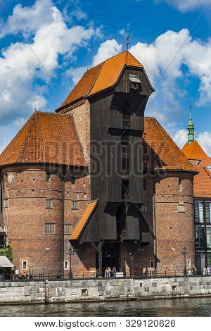 Gdansk, Poland - August 23, 2019: Historic Fifteenth Century Harbour Crane At Once One Of The Gates
