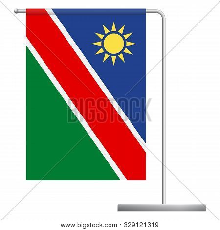 Namibia Table Flag. Metal Flagpole. National Flag Of Namibia Vector Illustration