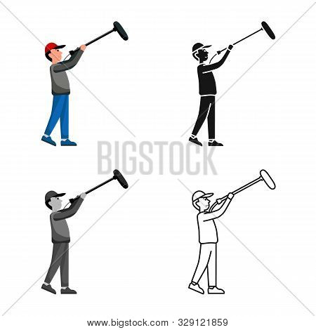 Isolated Object Of Cameraman And Light Symbol. Web Element Of Cameraman And Video Stock Symbol For W