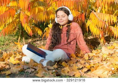 Where Elearning Begins. Small Child Elearning On Autumn Day. Little Girl Learning Online On Yellow L