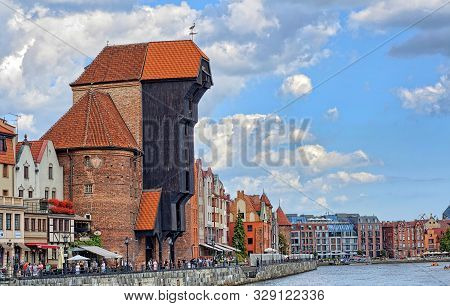 Historic Fifteenth Century Harbour Crane At Once One Of The Gates Of Gdansk Old Town, Located At Lon