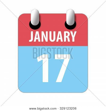 January 17th. Day 17 Of Month, Simple Calendar Icon On White Background. Planning. Time Management.