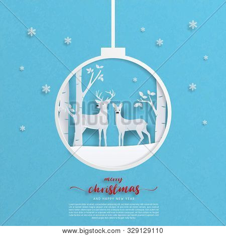 Digital Craft Made Deer Couple On Snowfield With Tree Forest And Falling Snowflakes In Paper Cut Sty