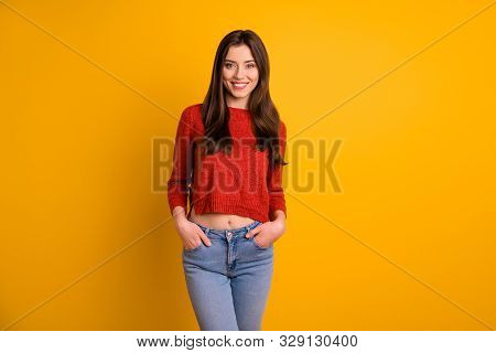 Photo Of Cute Charming Nice Fascinating Youngster Holding Hands In Pockets Wearing Denim Smiling Too