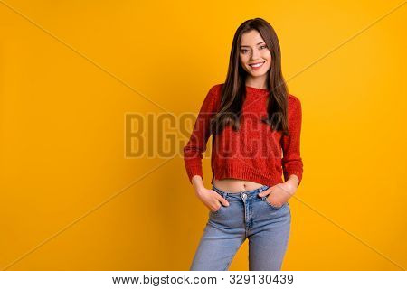 Photo Of Attractive Cute Charming Nice Youngster Millennial Wearing Jeans Denim Smiling Toothily Iso
