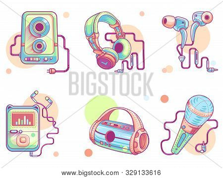 Music Audio Icons, Vector Line Art Set. Modern Color Pictogram Collection Of Music Devices, Subwoofe