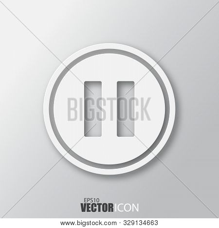 Pause Icon In White Style With Shadow Isolated On Grey Background.