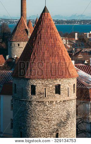 Tallinn, Estonia. Part Of Tallinn City Wall. Nuns Tower Nunnatorn, Sauna Tower Saunatorn, Golden Leg