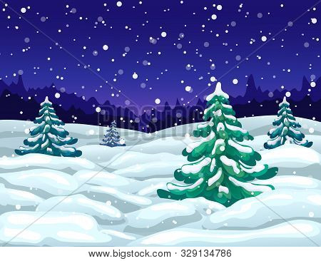 Vector Winter Wonderland Night Landscape With Snowfall And Snowy Fir Trees. Winter Snow Falling Scen