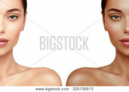 Tanning Skin Face Portrait. Woman Before And After Tan Spray