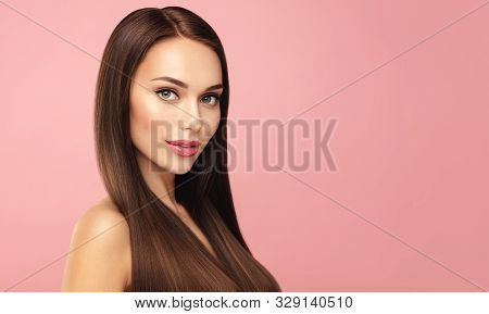 Beautiful Brown Hair Model Face Portrait. Elegant Attractive Woman With Perfect Skin And Natural Mak