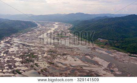 Aerial View Mekong River In October 2019 Between Thai-laos