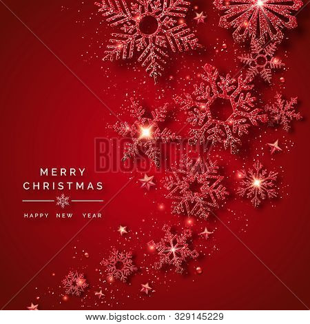 Christmas Background With Shining Red Snowflakes, Balls, Stars And Confetti. Merry Christmas Card Il