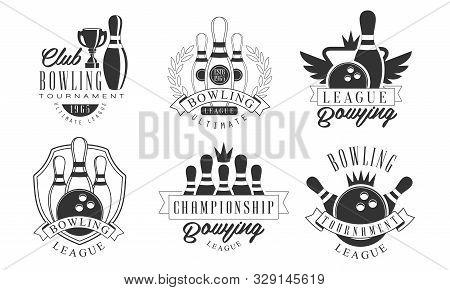 Set Of Vintage Bowling Logos Cartoon Vector Illustration
