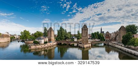 Strasbourg, Bas-rhin / France - 10 August 2019: View Of The Old Town And Canals Of Strassbourg With