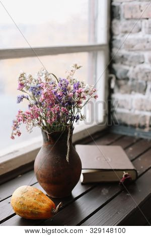 Cozy Fall Home Interior. Autumn Cozy Home Still Life. Flowers In A Vase. Flat Lay. Home Decor Inspir
