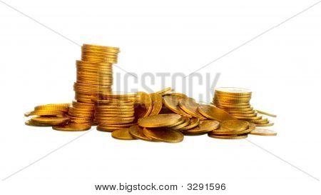 Money, Gold Coins On White