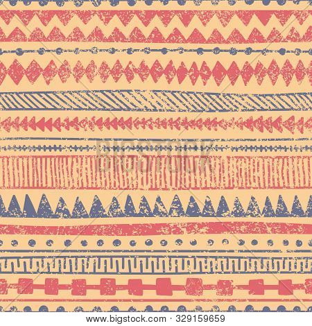 Seamless Ethnic Ornament. Aztec And Tribal Motifs. Ornament Drawn By Hand. Blue, Red And Beige Color
