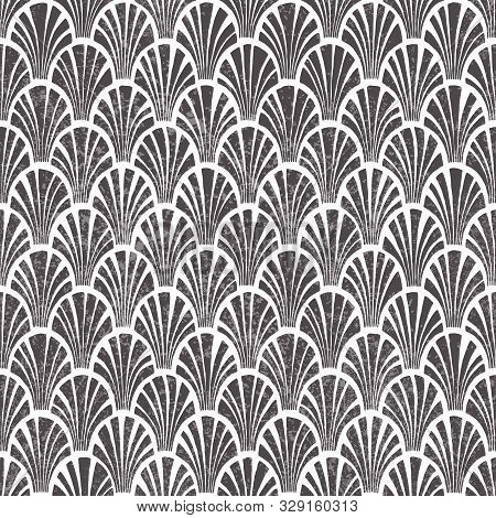 Seigaiha Seamless Pattern. White And Gray Print For Home Decor. Japanese Motives. Vintage Wallpaper.