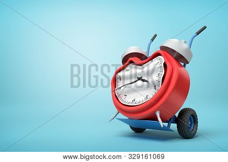 3d Rendering Of Smashed Broken Alarm Clock On A Hand Truck On Blue Background