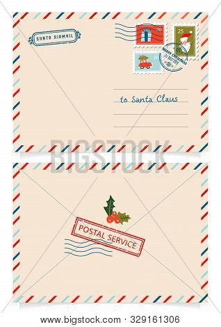 Letter To Santa Claus With Stamps And Postage Marks. Dear Santa Claus Mail Envelope. Christmas Surpr