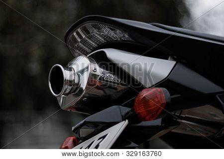 Krasnoyarsk, Russia - September 9, 2019: Red And Black Sportbike Honda Cbr 600 Rr 2005 Pc37.