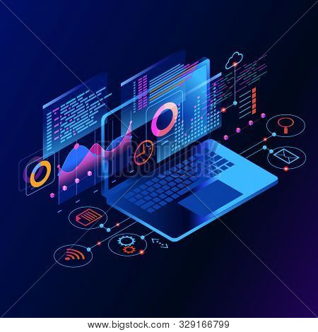 Workflow And Business Management. Display Seo. 3d Vector Isometric Illustration.