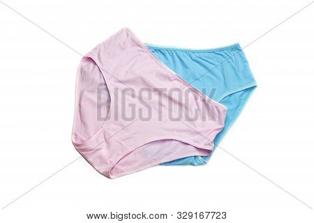 Female, New, Modern Panties Pink And Blue Color On A White Background Close-up