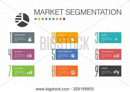 Market Segmentation Infographic 10 Option Line Concept.demography, Segment, Benchmarking, Age Group