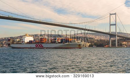 Istanbul, Turkey - January 20 2013: Loaded Container Ship Owned By Oocl - Orient Overseas Container