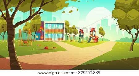Kindergarten Kids Playground, Empty Area For Children With Nursery School Colorful Building, Green G