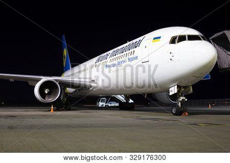 Borispol, Ukraine - October 18, 2019: Ur-gea Ukraine International Airlines Boeing 767-300 On The Pa