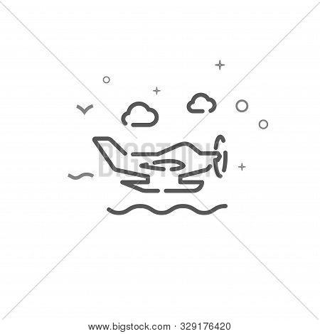 Seaplane Simple Vector Line Icon. Seaplane Symbol, Pictogram, Sign. Light Background. Editable Strok
