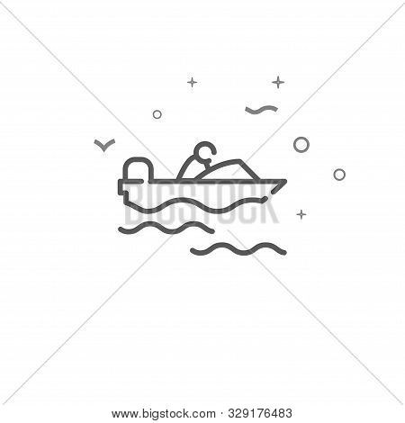 Powerboat Simple Vector Line Icon. Motorboat Symbol, Pictogram, Sign. Light Background. Editable Str