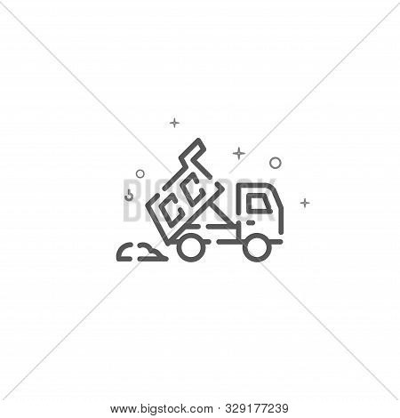 Dump Truck Dumps Pile Of Sand Simple Vector Line Icon. A Tipper Dumps A Load Symbol, Pictogram, Sign
