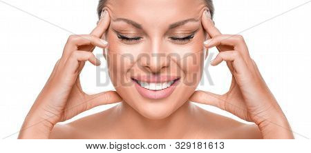 Anti-aging Concept. Smiley Woman Touchig Face. Isolated On White Background.