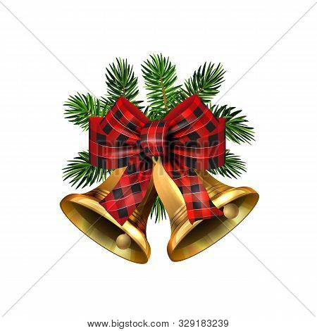 Vector Christmas Bells With Christmas Tree Decorations. Jingle Bells. Golden Bells With Ribbon