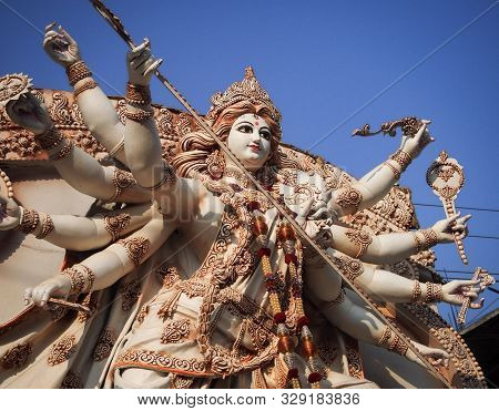Idol Of Hindu Goddess Durga During The Durga Puja Festival Which Happens In India Every Year