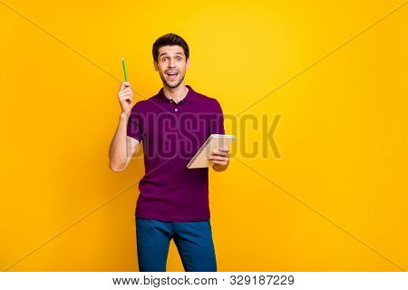 Portrait Of His He Nice Attractive Genius Focused Cheerful Cheery Glad Guy Creating Making Notes Coo