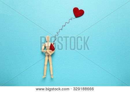 Figure Of People With Red Heart And Drop. Blood Donor. Medical Donation And Blood Transfusion.
