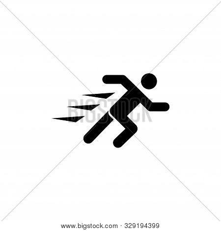 Running Man, Fast Runner Person. Flat Vector Icon Illustration. Simple Black Symbol On White Backgro