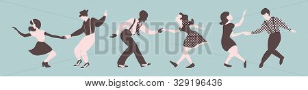 Three Lindy Hop Dancing Couples Silhouettes On A Blue Background. Men And Women In 1940s Style. Vect