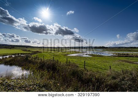 Wetlands Nature Reserve In Countryside Under Strong Sunlight
