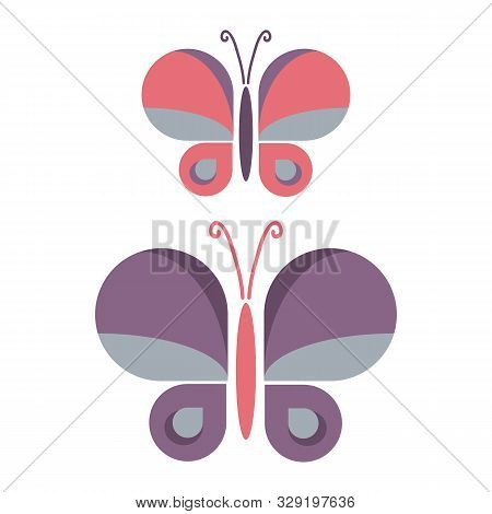 Two Retro Geometric Butterfly Vector Illustration. Hand Drawn Garden Insect In Sixties Flat Color. V