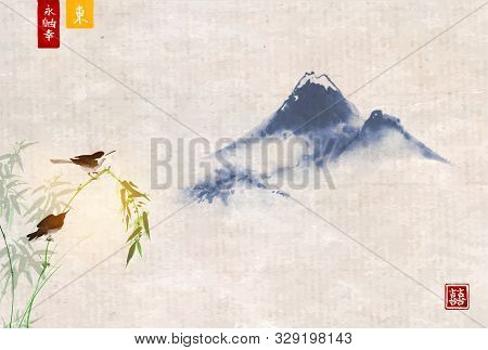 Two Birds On Bamboo And Far Blue Mountains. Traditional Oriental Ink Painting Sumi-e, U-sin, Go-hua.