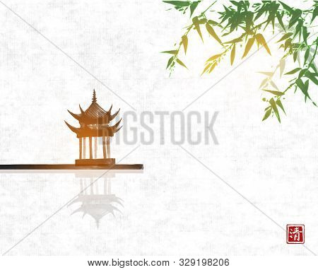 Pagoda Temlple Over The Water Surface And Green Bamboo Tree On Rice Paper Backgrund. Traditional Jap