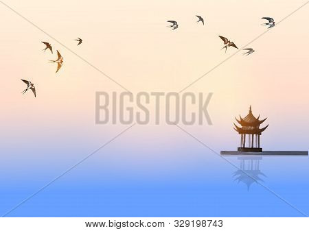 Pagoda Temple Over The Water Surface And Swallow Birds Flying In The Sky. Traditional Oriental Ink P