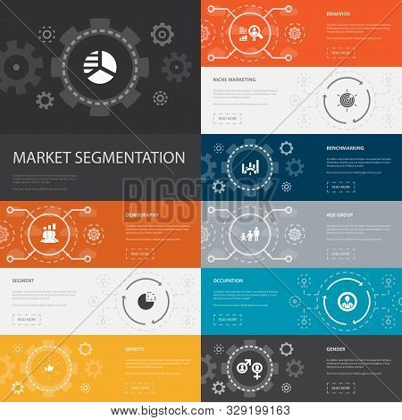 Market Segmentation Infographic 10 Line Icons Banners.demography, Segment, Benchmarking, Age Group S