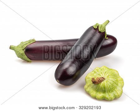 Organic Eggplant And Squash On A White Background. Vegetable Still Life. Isolated. Purple Nightshade
